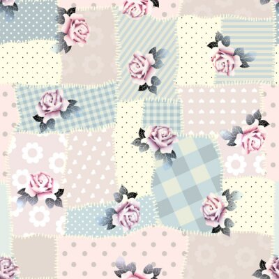 Sticker Retro patchwork with roses.