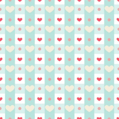 Sticker Retro seamless pattern with small hearts on gingham background