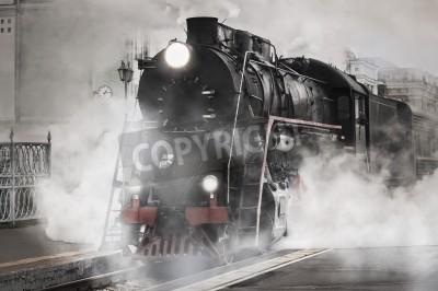 Sticker Retro steam train departs from the railway station