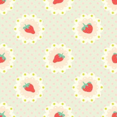 Sticker Retro strawberry  pattern. Shabby chic style