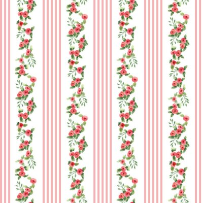 Sticker retro style floral pattern with stripes