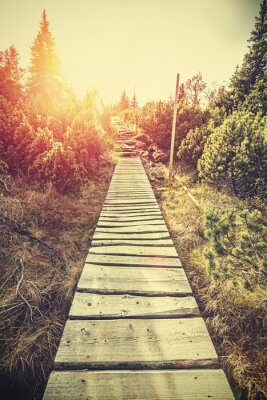 Sticker Retro stylized mountain wooden path in mountains at sunset.
