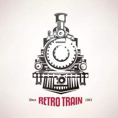 Sticker retro train, vintage  vector symbol, emblem, label template