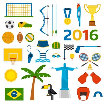Sticker Rio summer olympic games icons vector illustration