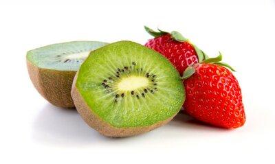 Sticker ripe and juicy kiwi and strawberry close-up