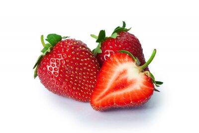 Sticker Ripe strawberries on white background