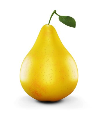 Sticker Ripe yellow pear on white background. 3d.
