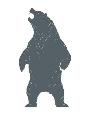 Sticker Roaring Bear Silhouette