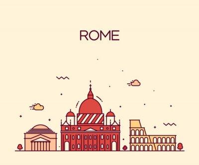 Sticker Rome City skyline detailed vector line art style