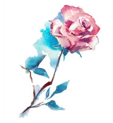 Sticker rose watercolor sketch. Vector illustration.