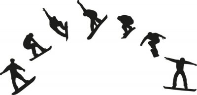Sticker Row of snowboard silhouettes jumping
