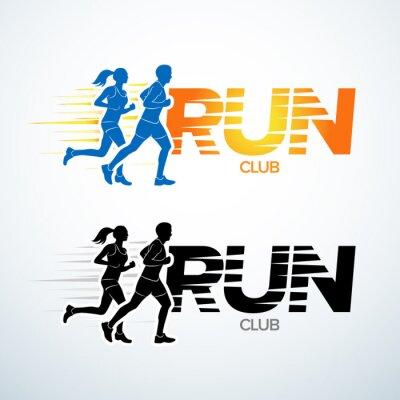 Sticker Run club logo template. Sport logotype template, sports club, running club and fitness vector logo design template. Man and woman fitness.