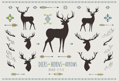 Sticker Rustic Antlers. Set silhouettes of rustic antler designs
