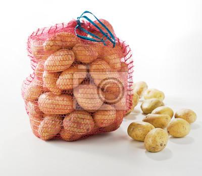Sticker Sack of fresh potatoes on white background
