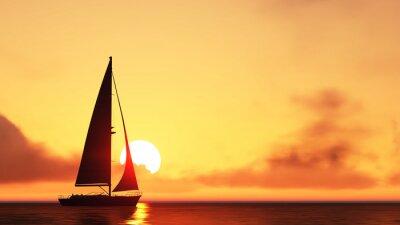Sticker sailboat and sunset