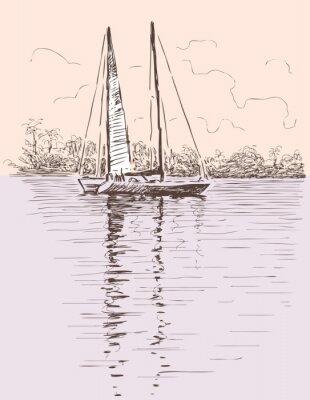 Sticker sailing boat at a shore