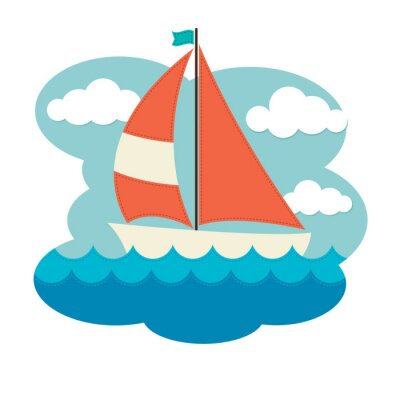 Sticker Sailing Boat on Waves