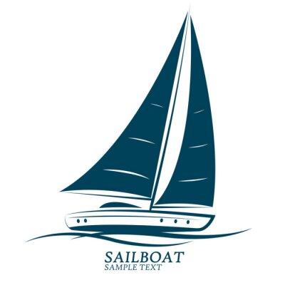 Sticker sailing boats vector.illustration