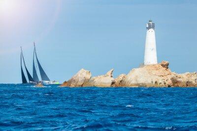 Sticker sailing in Sardinia, Monaci island lighthouse, Italy