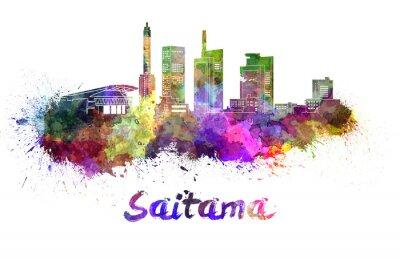 Sticker Saitama skyline in watercolor