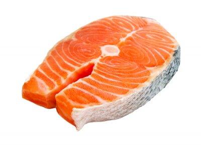 Sticker salmon steak isolated on white background