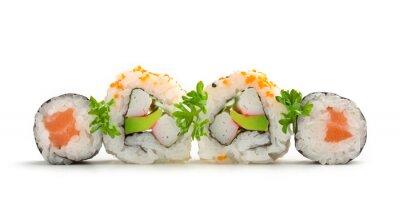 Sticker salmon sushi maki and california rolls