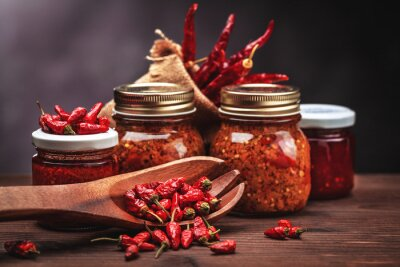 Sticker sauce chilli in glass