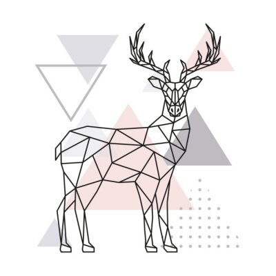 Sticker Scandinavian deer, side view. Geometric vector illustration.