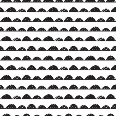 Sticker Scandinavian seamless  black and white pattern in hand drawn style. Stylized hill rows. Wave simple pattern for fabric, textile and baby linen.