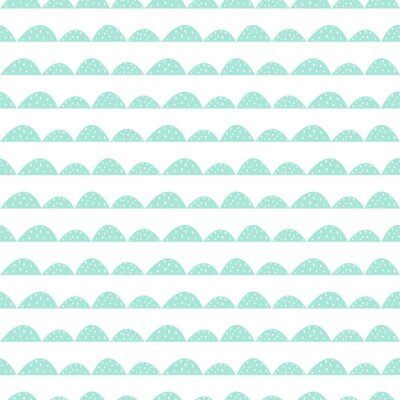 Sticker Scandinavian seamless mint pattern in hand drawn style. Stylized hill rows. Wave simple pattern for fabric, textile and baby linen.