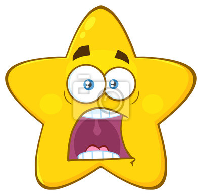 scared yellow star cartoon emoji face character with expressions