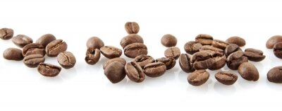 Sticker Scattered coffee beans in line on white