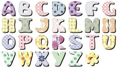 Sticker scrapbook alphabet on white background
