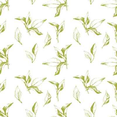 Sticker Seamless background of leaves. Sketch style.