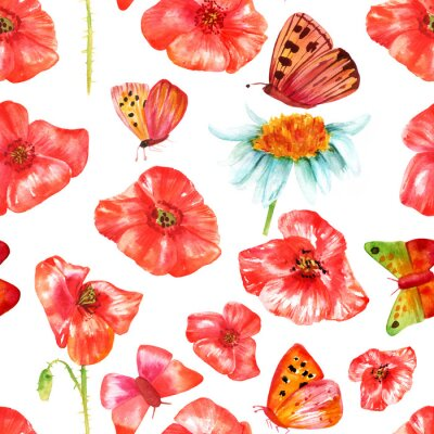 Sticker Seamless background texture with vibrant red watercolor poppies