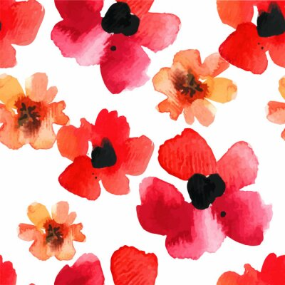 Sticker Seamless background with red poppies watercolor.