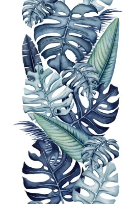 Sticker Seamless Border of Watercolor Monstera and Banana Leaves