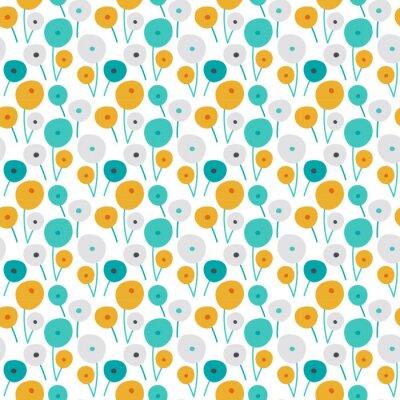 Sticker Seamless bright scandinavian floral pattern