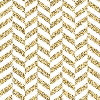 Sticker Seamless chevron pattern. Glittering golden surface