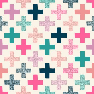 Sticker seamless colorful cross textured pattern