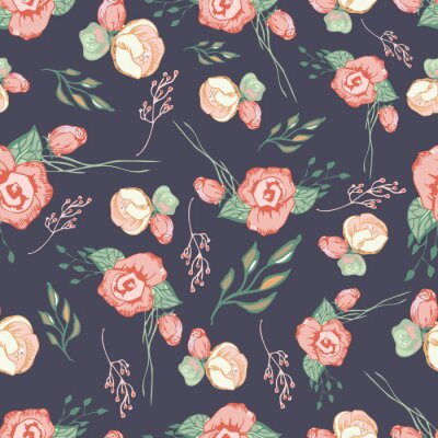 Sticker Seamless colorful floral pattern elements  4
