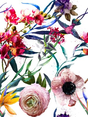 Sticker seamless exotic floral fashion pattern