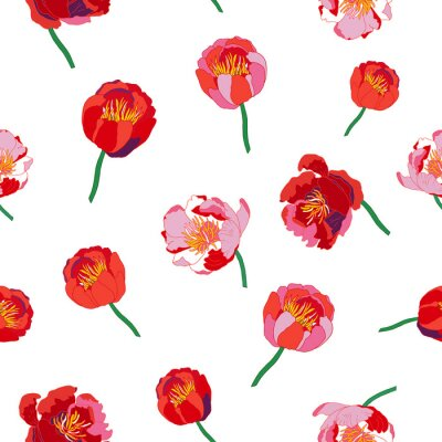 Sticker Seamless floral  background. Isolated red flowers on white background. Vector illustration.