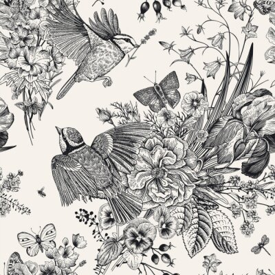 Sticker Seamless floral pattern. Tits, flowers, butterflies. Vector vintage botanical illustration. Black and white