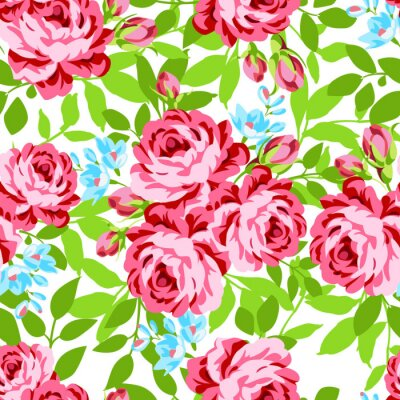 Sticker Seamless floral pattern with garden pink roses