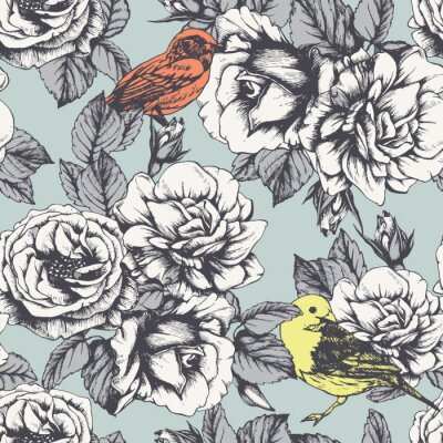 Sticker Seamless floral pattern with hand-drawn roses and birds. Vector