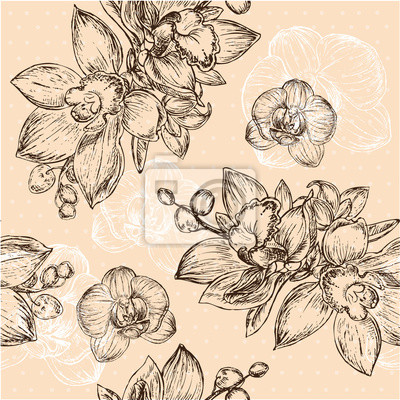 Sticker Seamless floral pattern with orchid