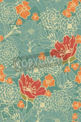 Sticker Seamless Floral Pattern With Red Flowers On Monochrome Background