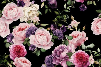 Sticker Seamless floral pattern with roses, watercolor