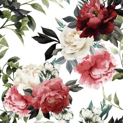 Sticker Seamless floral pattern with roses, watercolor. Vector illustrat